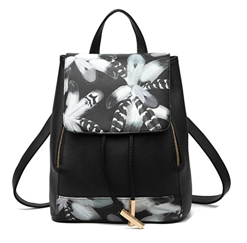 Tibes Small Daypack mochila impermeable casual para las mujeres/niñas Negro 1