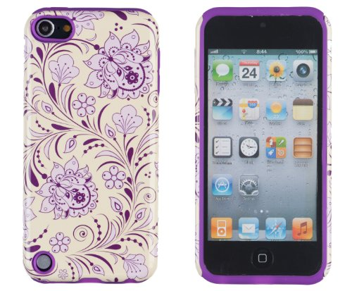 DandyCase 2in1 Hybrid High Impact Hard Lavender & Cream Floral Pattern + Purple Silicone Case Cover For Apple iPod Touch 5 (5th generation) + DandyCase Screen Cleaner