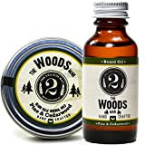 The Woods Beard Oil and Beard Balm - Cedarwood and Pine - Essential Oil Scented Beard Conditioner and Beard Balm Bundle by The 2 Bits Man (1 oz.)