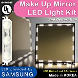 Crystal Vision Hollywood Style Makeup Mirror LED Light Kit Provided by Samsung for Cosmetic Mirror Vanity Mirror w/ Dimmer Controller (75 LED Bulb / 12.5ft) [Slim Warm White]