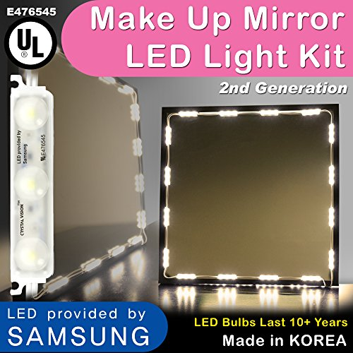 Crystal Vision Hollywood Style Makeup Mirror LED Light Kit Provided by Samsung for Cosmetic Mirror Vanity Mirror w Dimmer Controller 75 LED Bulb 12.5ft Slim Warm White