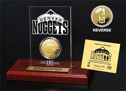 NBA Denver Nuggets Etched Acrylic Gold Coin, 9'' x 7'' x 2'' by The Highland Mint