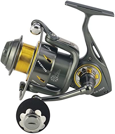 スピニングリール超軽量釣りリール フロントとリアダブルドラグブレーキシステムを備えたフライスピニング釣りリールBaitrunner Reel 13 + 1ステンレス鋼海水淡水釣り用の右右交換ハンドル (サイズ : 6000)