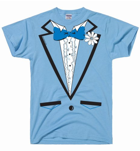 DirtyRagz Men's Powder Blue Vintage Tuxedo Tux T Shirt S Light Blue ()