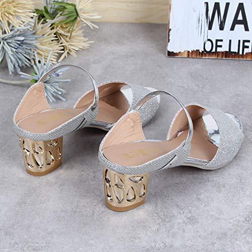 spessi Scarpe tacco peep col casual morbido PU toe mid heeled sandali qzxSqYr