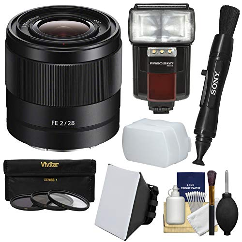 Sony Alpha E-Mount FE 28mm f/2 Lens with Flash + Soft Box + Diffuser + 3 Filters + Kit for A7, A7R, A7S Mark II Cameras