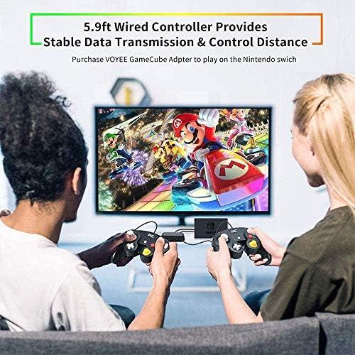 NC Gamecube Controller, adecuado para consola Wii y Nintendo Game Controller, driver con cable negro Gamepad Joystick., Juego de 1 pieza negro. 8