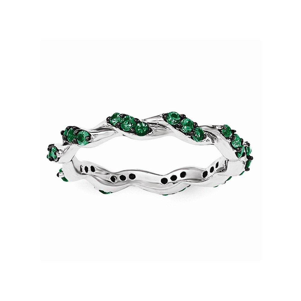 Sterling Silver Created Emerald Twisted Eternity Ring