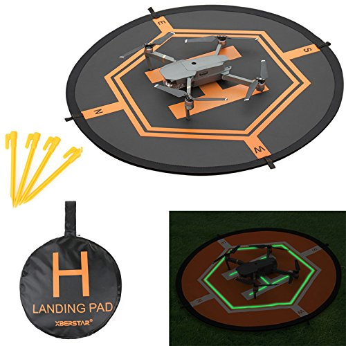XBERSTAR Double Side Day&Night Foldable Apron Landing Pad for DJI Mavic Pro Spark Inspire 1 Phantom4 3 Mavic Air Quadcopter RC Drone Portable Fast-fold launch helipad