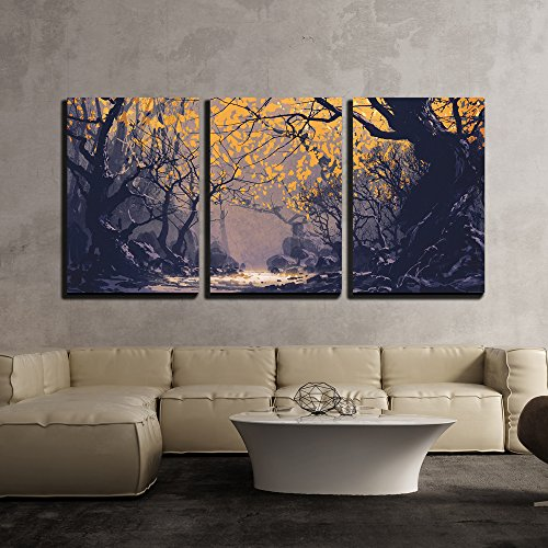 Night Scene of Autumn Forest Landscape Painting x3 Panels
