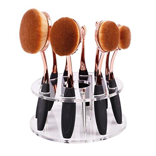 Elevin 10 Hole Oval Makeup Brush Holder Drying Rack Organize