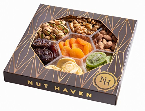 Nut Haven Gourmet Assorted Dried Fruit & nuts Gift Basket/Box ~ variety of 7 section dried fruit & nuts tray ~ Great for: Corporate, Holiday, Birthday, Get well, Thank you, Men & Women, snack ~ Prime