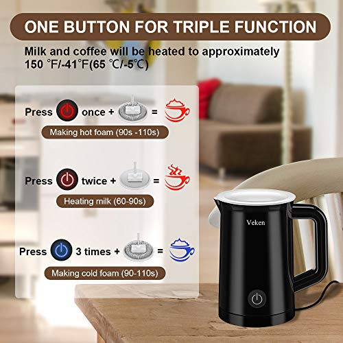 Veken Electric Milk Frother with Hot Cold Function, Coffee Foam Warmer for Cappuccinos Lattes Hot Chocolate Matcha 5.1 oz 10.2 oz Black 2.0