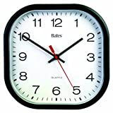 Bates 9-Inch Square Thinline Clock, Requires 1 AA Battery (Not Included), Black (7280347220)