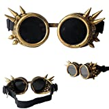 FUT ABS Spiked Steampunk Goggles Glasses Cosplay Costume Props (Brass)