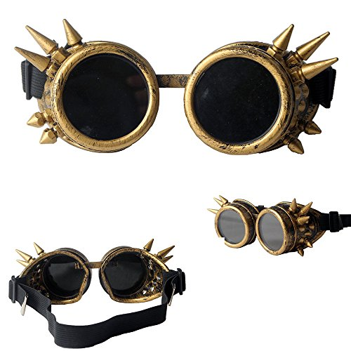 FUT ABS Spiked Steampunk Goggles Glasses Cosplay Costume Props (Brass) by FUT (Image #7)
