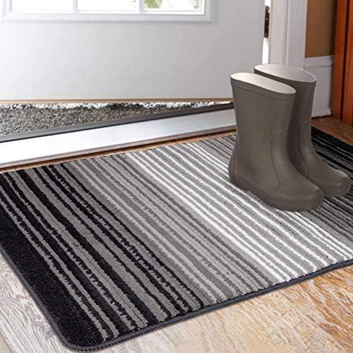 Aoonby Indoor Doormat 23 x 35 , Absorbent Front Back Door Mat Floor Mats, Rubber Backing Non Slip Door Rug Entrance Inside Mud Dirt Trapper Carpet, Machine Washable Low Profile-Gradient Pinstripe