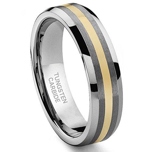 6MM Tungsten Carbide 14K Gold Inlay Wedding Band Ring Sz 13.0 ()