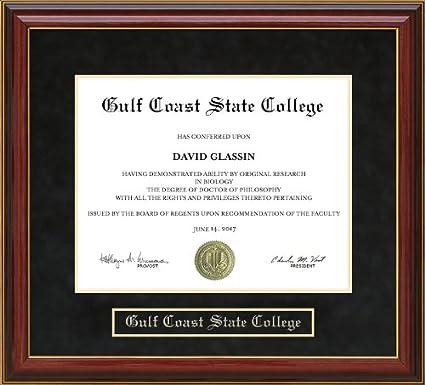 Amazon.com - Gulf Coast State College (GCSC) Diploma Frame - Mahogany -