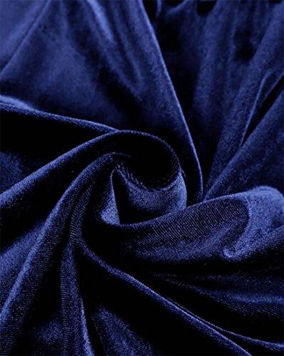Colore Vita Girocollo 3 Dall'oscillazione Blu Womens 4 Cromoncent Solido Manicotto Di Velluto Vestito Alta wSWaYRq1