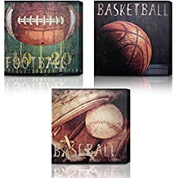 Green Frog Basketball Soccer Football Sports Themed Canvas Wall Art With Hand Embellishment, Set Of 3 Size 14 X 14 for Boys Room Baby Nursery Wall Decor Basketball Boys Gift