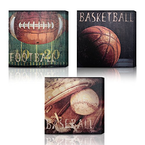 Green Frog Basketball Soccer Football Sports Themed Canvas Wall Art With Hand Embellishment, Set Of 3 Size 14 X 14 for Boys Room Baby Nursery Wall Decor Basketball Boys Gift by Green Frog