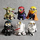 PAPWELL Set 6 Minion Star Wars Action Figures 4 inch Hot Toys Maul Darth Vader Stormtrooper Jedi Skywalker R2D2 Master Yoda Toy Figure Halloween Christmas Collectable Gifts Collectibles Gift for Kids