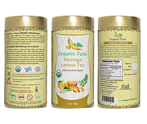 Organic Moringa Lemon Tea (Loose Leaf Tea). USDA Certified Organic. Rich in Antioxidants and Daily Needed Essential Nutrients. No Artificial Flavors or Preservatives. All Natural!
