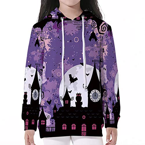 Unisex Child Hoodie,Vintage Halloween,Halloween Midnight Image with Bleak Backgr