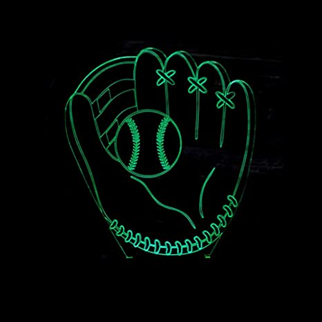 Zcmzcm Luz Nocturna 3D 7 Colores 3D Lámpara Led Guantes De Béisbol ...