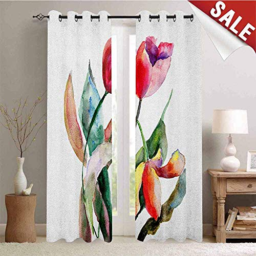 Scarlet Pinstripe Short - Art, Decorative Curtains for Living Room, Watercolor Tulip Flowers Bouquet Feminine Beauty Spring Revival Image, Waterproof Window Curtain, W72 x L84 Inch Scarlet Magenta Forest Green