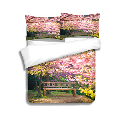 (MTSJTliangwan Family Bed Garden Bench Under The Pink Sakura Blur Style 3 Piece Bedding Set with Pillow Shams, Queen/Full, Dark Orange White Teal Coral)