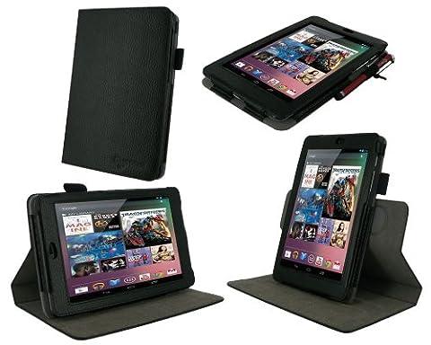 rooCASE Dual-View Multi Angle (Black) Vegan Leather Folio Case Cover for Google Nexus 7 Tablet (1 Gen Nexus 7 Case)
