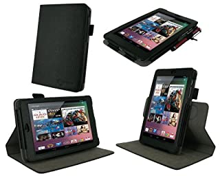 rooCASE Dual-View Multi Angle (Black) 100% Genuine Leather Folio Case Cover for Google Nexus 7 Tablet (Automatically Wakes and Puts the Nexus 7 to Sleep) (B009L0V7U2) | Amazon price tracker / tracking, Amazon price history charts, Amazon price watches, Amazon price drop alerts