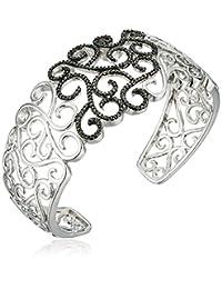 Sterling Silver Black Diamond Accent Filigree Cuff Bracelet