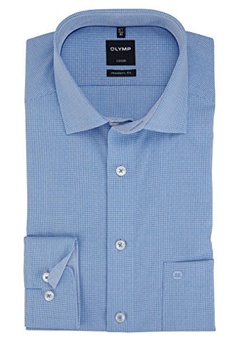 OLYMP Luxor modern fit Hemd extra kurzer Arm Struktur blau AL 58