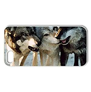 3 wolf friends - Case Cover for iPhone 5 and 5S (Dogs Series, Watercolor style, White)