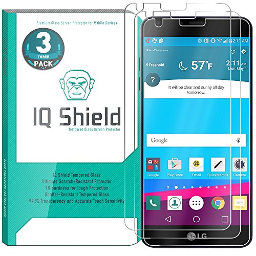 Price comparison product image LG G6 Screen Protector (3-Pack), IQ Shield Tempered Ballistic Glass Screen Protector for LG G6 99.9% Transparent HD and Shatter-Proof Shield