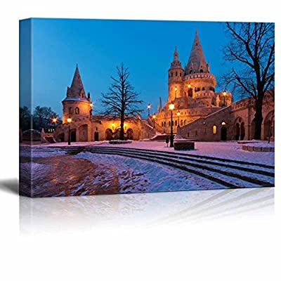 Beautiful Scenery Landscape The Fisherman's Bastion in Winter in Budapest Famous Landmark - Canvas Art Wall Art - 16