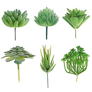 CHICTRY Pack of 6 Mini Artificial Echeveria Succulent Picks Textured Unpotted Assorted Faux Succulent Plants in Different Flocked Green DIY Flower Arrangement Making 112