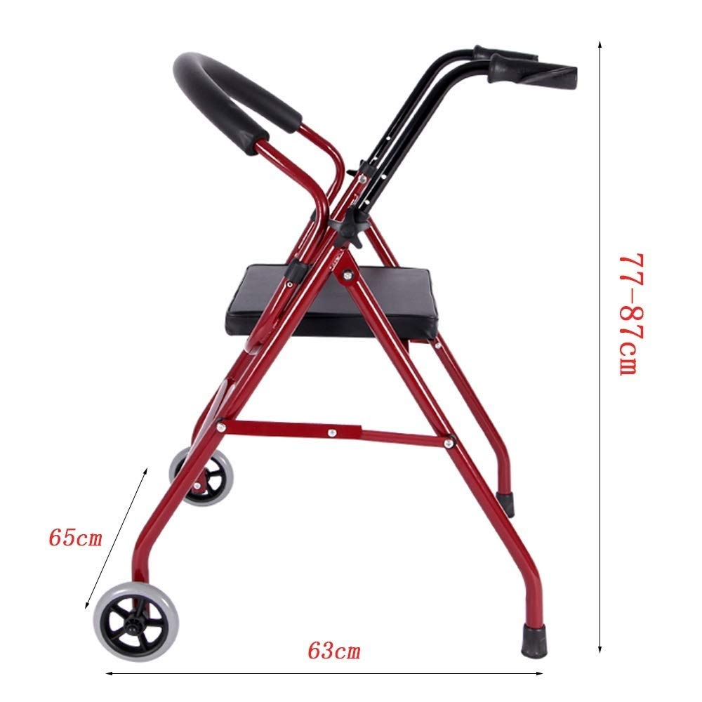 Foldable Walker,Folding Walker with Seats and Wheels Handicap Mobile Assisted Walking Frame Lightweight Non-Slip StableAdjustable Auxiliary Walking Safety Walker by YL WALKER (Image #6)