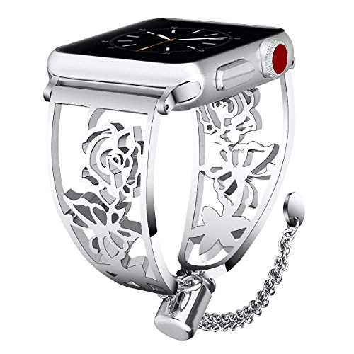VIGOSS Jewelry Metal Bangle Compatible with Series 4 Apple Watch Band 38mm/40mm Women Luxury Cuff Floral Hollow Out Bracelet Stainless Steel Strap for iWatch Series 4/3/2/1 Sport Butterfly Silver