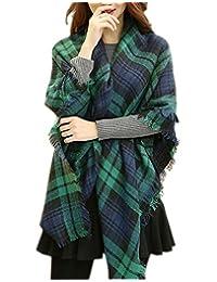 FENTI Women Winter Soft Check Plaid Paisley Scarf Large Wrap Pashmina 140x140 cm