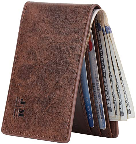 Joymon Mens Slim Minimalist Front Pocket Wallet Genuine Leather ID Window Card Case RFID Blocking (Coffee Dark)