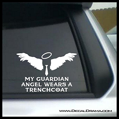 My Guardian Angel Wears a Trenchcoat Vinyl Decal | Supernatural Sam Dean Winchester Brothers Idjit Bitch Jerk Castiel Impala CW | Cars Trucks Vans Laptops Windows Cups Tumblers Mugs | Made in the USA