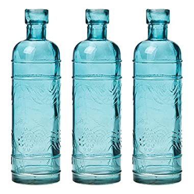 Luna Bazaar Small Vintage Glass Bottle Set (6.5-Inch, Round Design, Turquoise Blue, Set of 3) - Flower Bud Vase Set - For Home Decor and Wedding Centerpieces