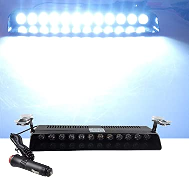 XT AUTO 12V Car Truck Emergency Strobe Flash Light Sucker Dashboard Interior Windshield Warning Light Bar Blue