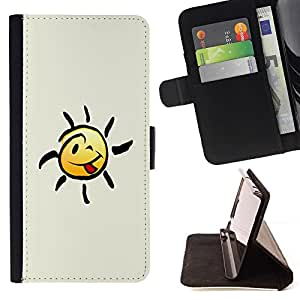 DEVIL CASE - FOR HTC One M8 - Happy Smiley Tongue - Style PU Leather Case Wallet Flip Stand Flap Closure Cover