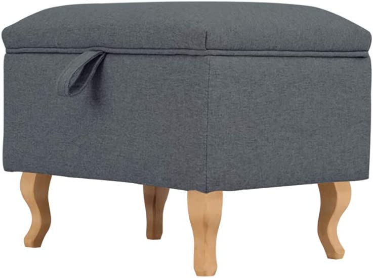 INMOZATA Linen Fabric Footstool Storage Upholstered Ottoman Pouffe Stool Change Shoe Footrest Wooden Legs for Living Room Bedroom Dark Grey
