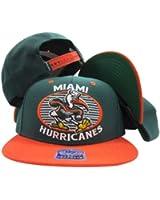 Miami Hurricanes Green/Orange Two Tone Plastic Snapback Adjustable Snap Back Hat/Cap